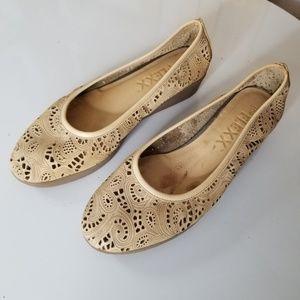 The Flexx Tan Lasercut Ballet Flat Comfort Shoe